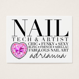 311 Tres Chic Nail Tech Diamond Heart Business Card