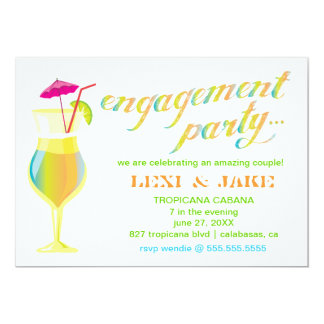 311 Tropical Engagement Party 5x7 Paper Invitation Card
