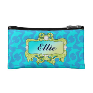 311 Tropical Glam Crazy Aqua Dolphin Print Cosmetic Bag