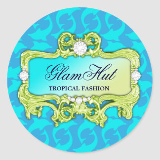 311 Tropical Glam Dolphin Print Classic Round Sticker