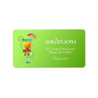 311 Tropical Paradise Christmas Lime Green Address Label