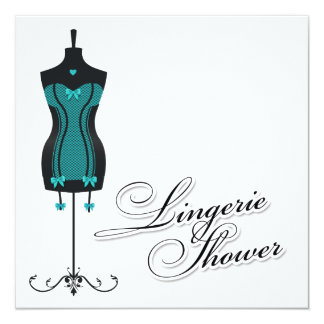 311-Turquoise Lingerie Mannequin 5.25x5.25 Square Paper Invitation Card