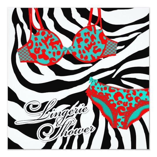 311-Turquoise Red Leopard Zebra Lingerie Set Card