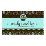 311-Turquoise Swirly Sweet Too Business Card Template