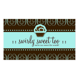311-Turquoise Swirly Sweet Too Double-Sided Standard Business Cards (Pack Of 100)