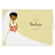 311-UPDO BRIDE THANK YOU AFRICAN AMERICAN CARD