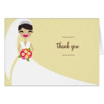 311-UPDO BRIDE THANK YOU BRUNETTE CARD