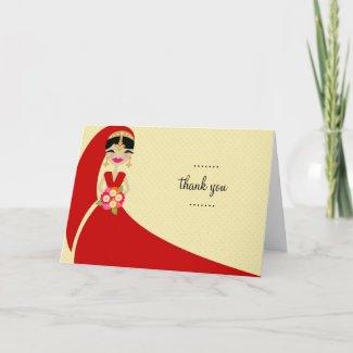 311-UPDO BRIDE THANK YOU INDIAN BRIDE card