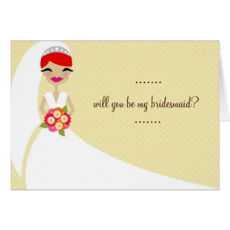 311-UPDO BRIDE THANK YOU RED HEAD CARD