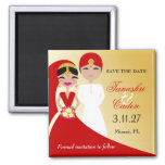311-Updo Indian Bride with Groom 2 Inch Square Magnet