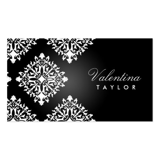 311 Valentina Noir et Blanc Damask Double-Sided Standard Business Cards (Pack Of 100)