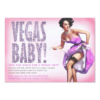 311 Vegas Baby Pinup Girl Sparkle Personalized Announcement