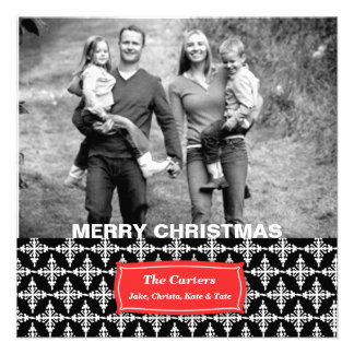 311-Vibrant Snowflake | Black Photo Card Personalized Announcements