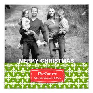 311-Vibrant Snowflake | Green Photo Card Personalized Invitation