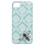 311 Vintage Blue Damask Bee Hornet iPhone Cover iPhone 5 Cases