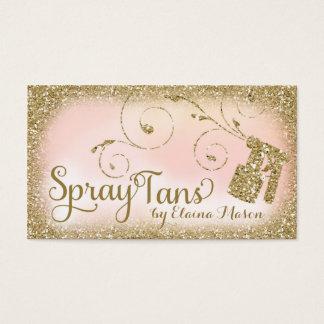 311 Vintage Glam Spray Tan Gold Glitter Pink Business Card