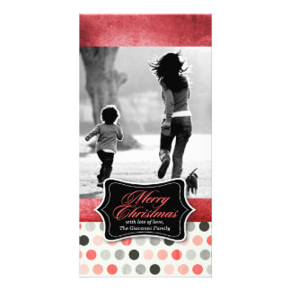 311 Vintage Red Polka Dotted Christmas Photo Card