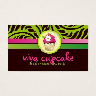 311 Viva Cupcake Green n Pink Stripes Business Card