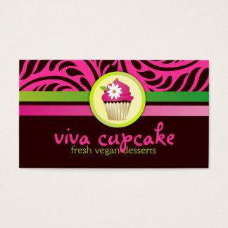 311 Viva Cupcake Pink n Green Stripes Business Card