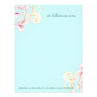 311-Vivid Foliage Flare Sky Blue Personalized Letterhead