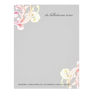 311-Vivid Foliage Gray Flare Personalized Letterhead
