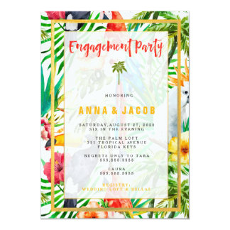 311 Watercolor Tropical Parrot Engagement Card