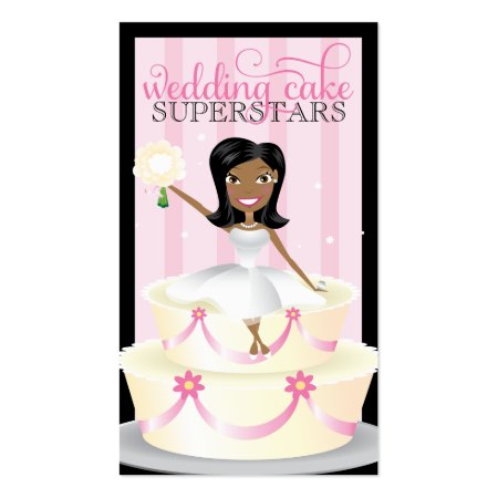 Adorable African American Bride on Wedding Cake Calling Cards
