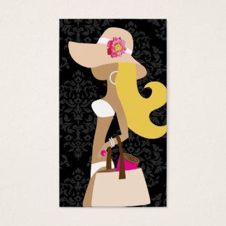 311 White Bikini Pink Floral Fashionista Blonde Business Card