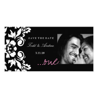 "311-White Damask ""ONE"" Pink Save the Date Card"