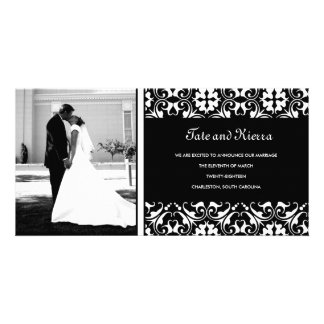 311-WHITE DAMASK WEDDING PHOTO CARD