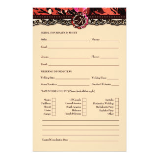 311 Wild Lily Bridal Information Card Personalized Flyer