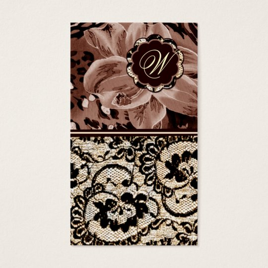 311-Wild Lily Lace   Sepia Tone Business Card
