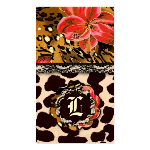 311 WILD LILY LEOPARD & LACE ORANGE Double-Sided STANDARD BUSINESS CARDS (Pack OF 100)