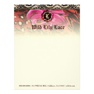 311-Wild Lily Pink Lace Monogram Custom Letterhead