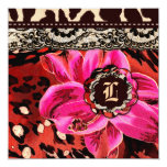 "311 Wild Lily Pink Leopard Gift Certificate 5.25"" Square Invitation Card"