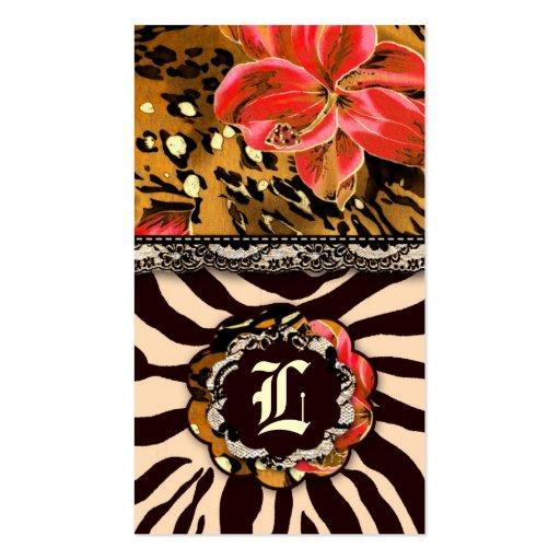 311 WILD LILY ZEBRA & LACE ORANGE BUSINESS CARD TEMPLATE
