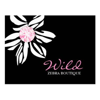 311-Wild Zebra Flower   Black & Pink Dimaond Postcard