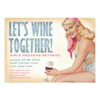 311 Wine junto chica modelo retro Invitaciones Personales