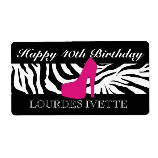 311 Zebra Heel Pink Label Shipping Label | Zazzle
