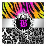 311 Zebra-LeoTique Diamonds Kisses Neon Trio Invitation