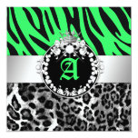 311 Zebra-LeoTique Diamonds Kisses Sweet 16 Neon L Invitation