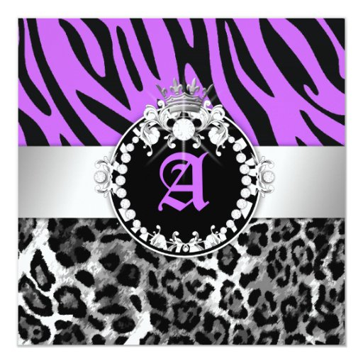 311 Zebra-LeoTique Diamonds Kisses Wild Purple Invitation