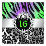 311 Zebra-LeoTique Diamonds n' Kisses Sweet 16 Invitation