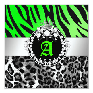 311-Zebra-LeoTique Diamonds n' Kisses Sweet 16 Custom Invitation