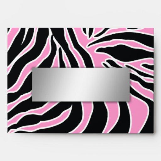 311-Zebra Print Envelope Pink | Silver Name Plate | Zazzle