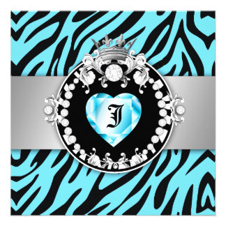 311 Zebra Tique Kiss Queen of Hearts Sweet16 Personalized Invite