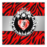 311 Zebra Tique Kiss Queen of Hearts Sweet16 5.25x5.25 Square Paper Invitation Card