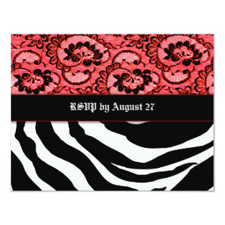 311-Zees Safari Hearts n' Lace Rouge Monogram 4.25x5.5 Paper Invitation Card