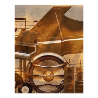 313583 DIGITAL MUSICAL GOLDEN COLLAGE GUITAR PIANO LETTERHEAD