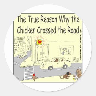 315 porqué el pollo cruzó el dibujo animado del etiquetas redondas